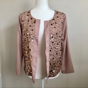 Pink Sequined Open Blazer Lightweight Jacket M